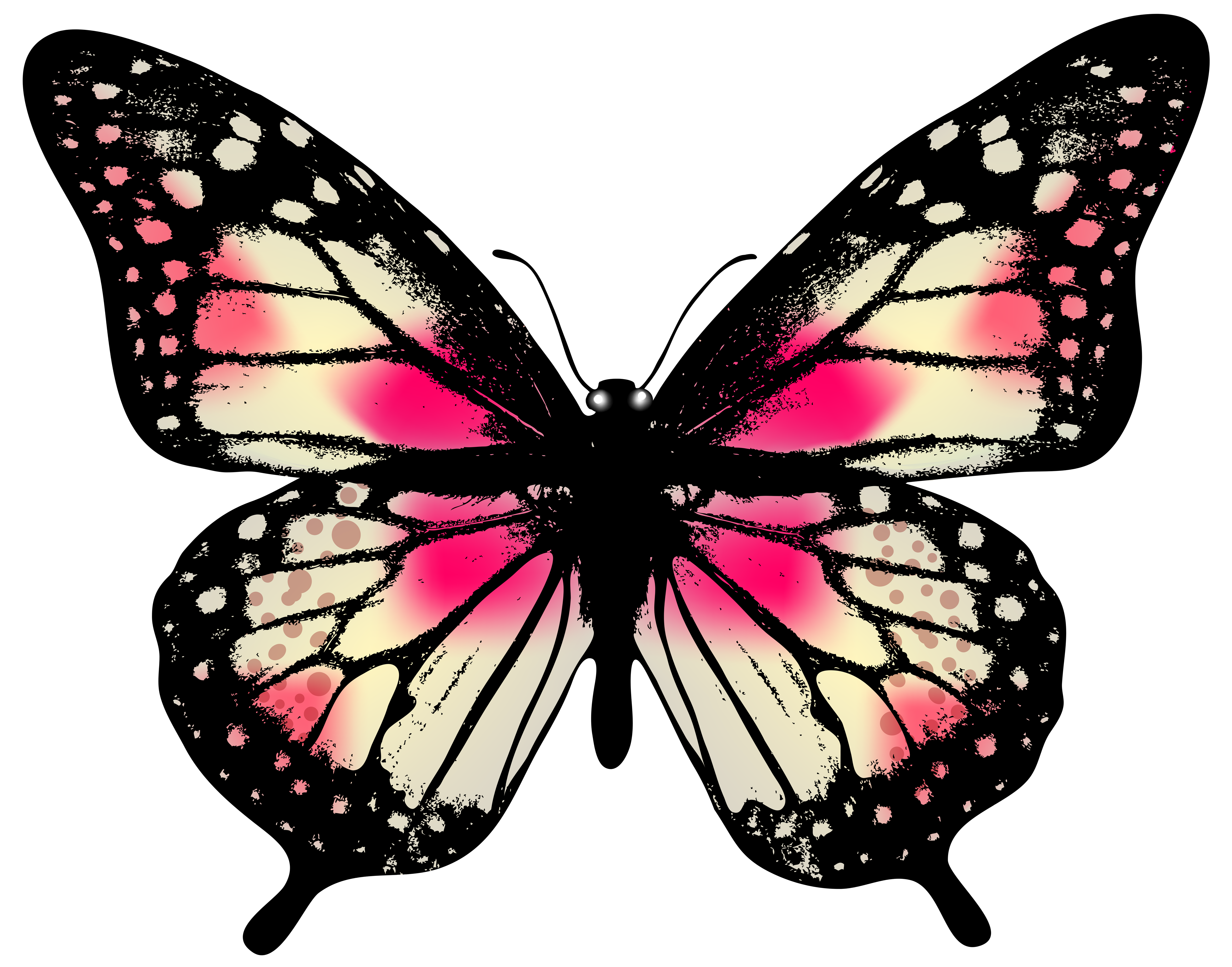 Large pink png clip. Clipart butterfly banner