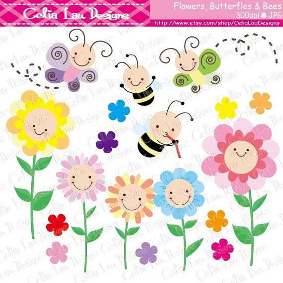 Clipart butterfly bee. Flower clip art flowers