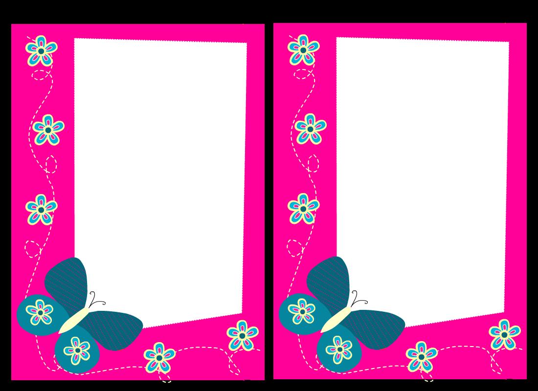 Pink border panda free. Clipart butterfly borderline