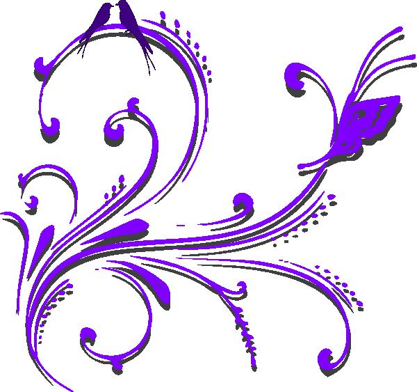 Purple butterfly border panda. Scroll clipart small scroll