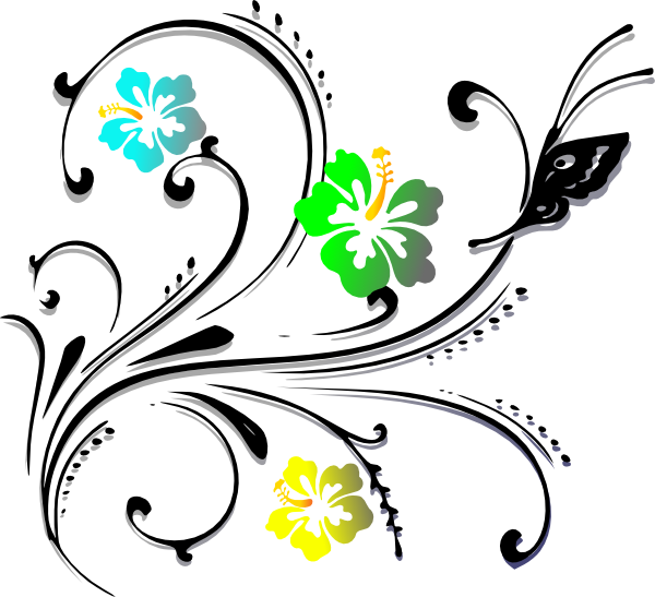 Butterfly scroll clip art. Needle clipart design