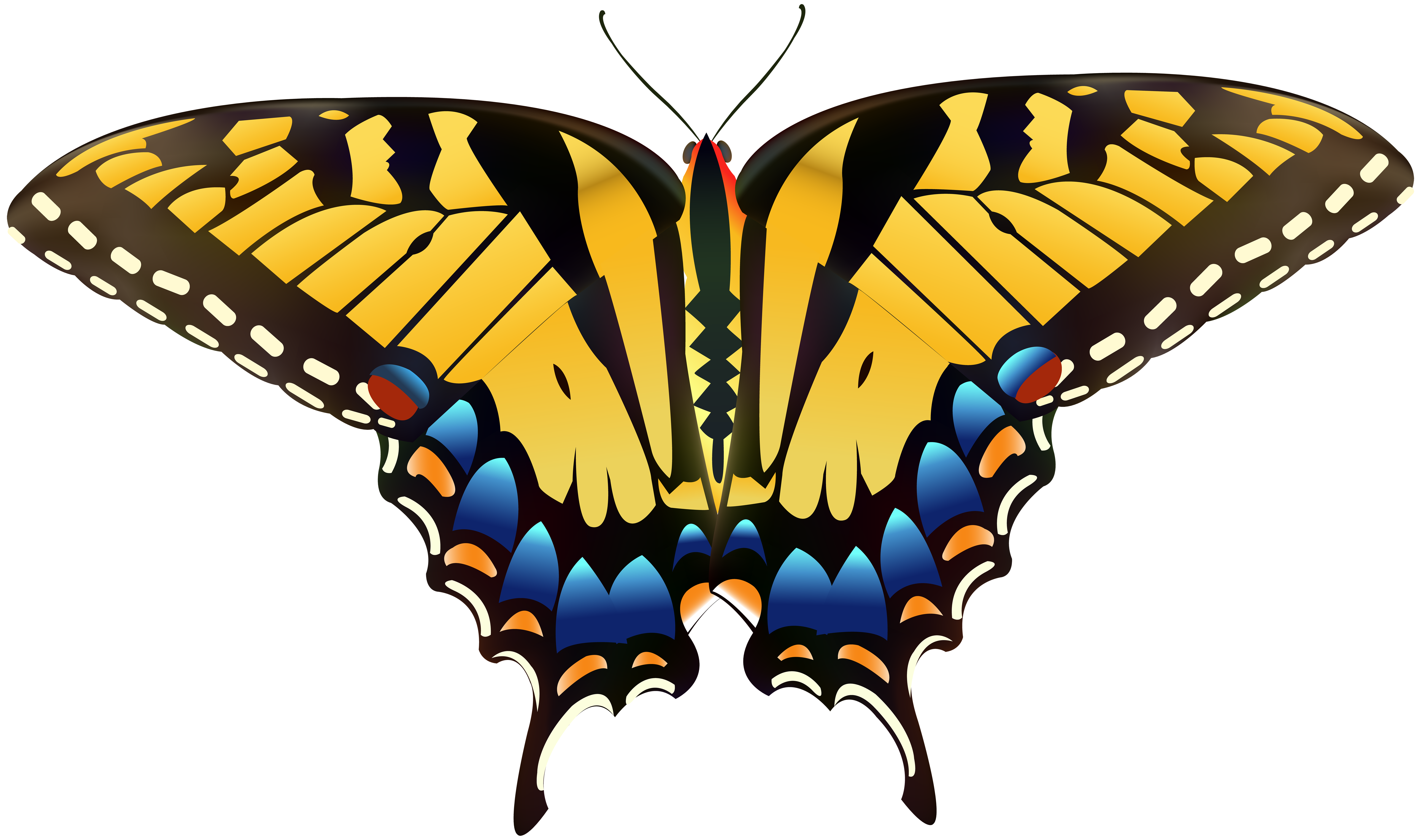 Tree clipart butterfly. Yellow png clip art