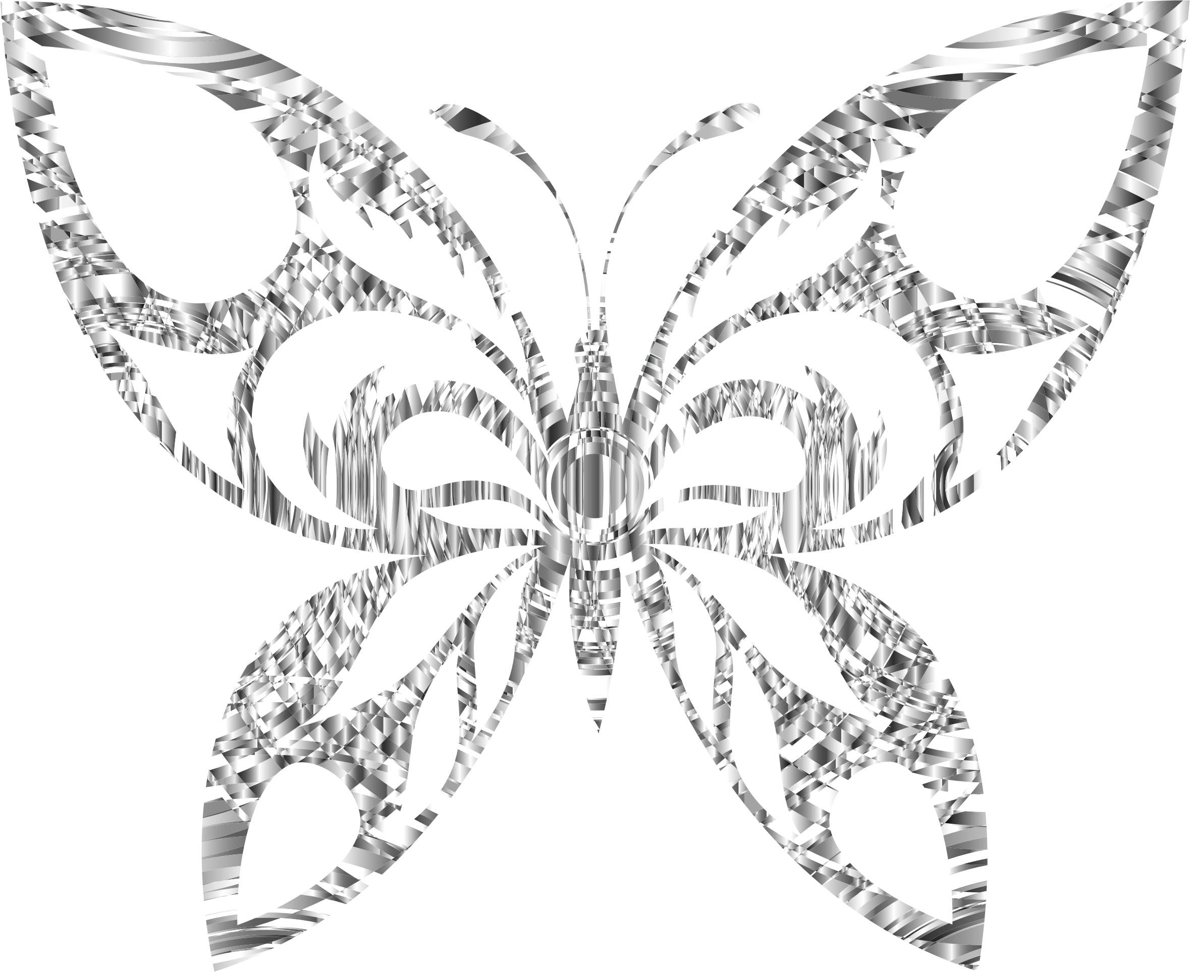 Tribal silhouette big image. Clipart butterfly diamond
