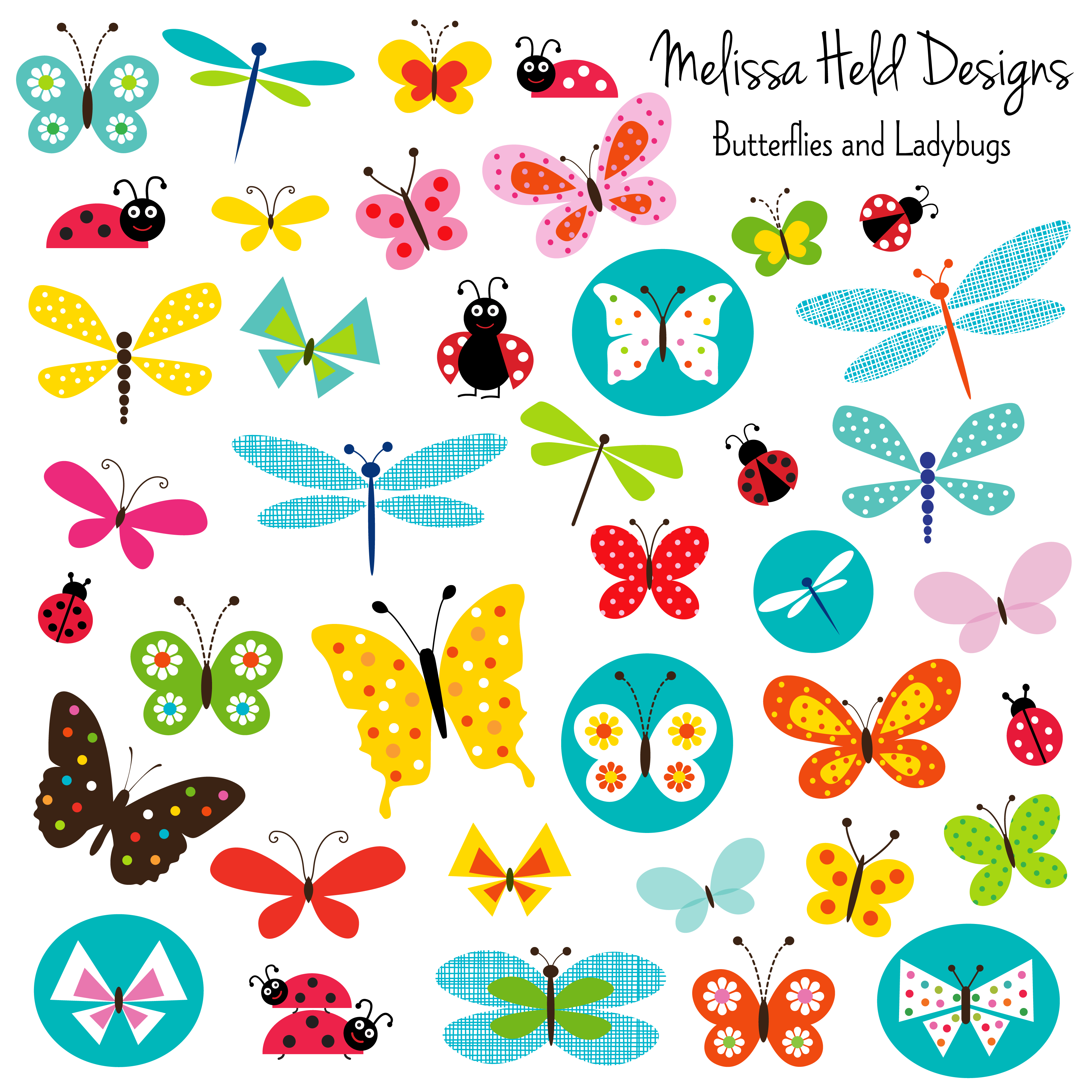 Butterflies and mygrafico illustrations. Ladybugs clipart butterfly