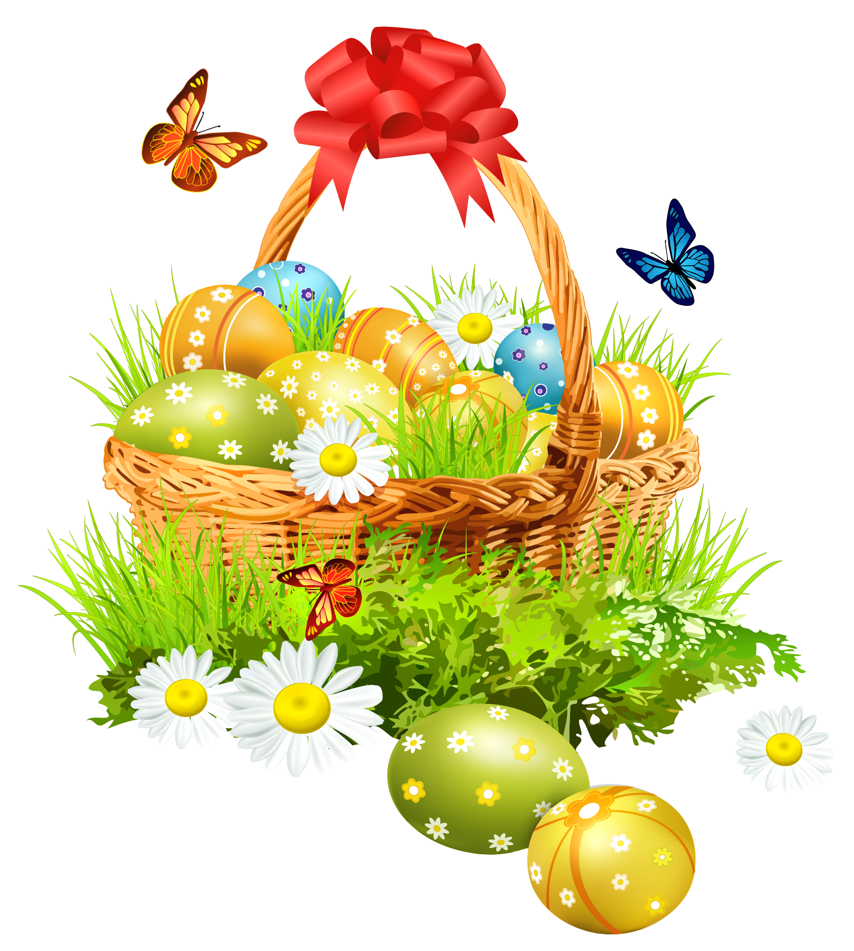 Easter png images. Basket with eggsand butterflies