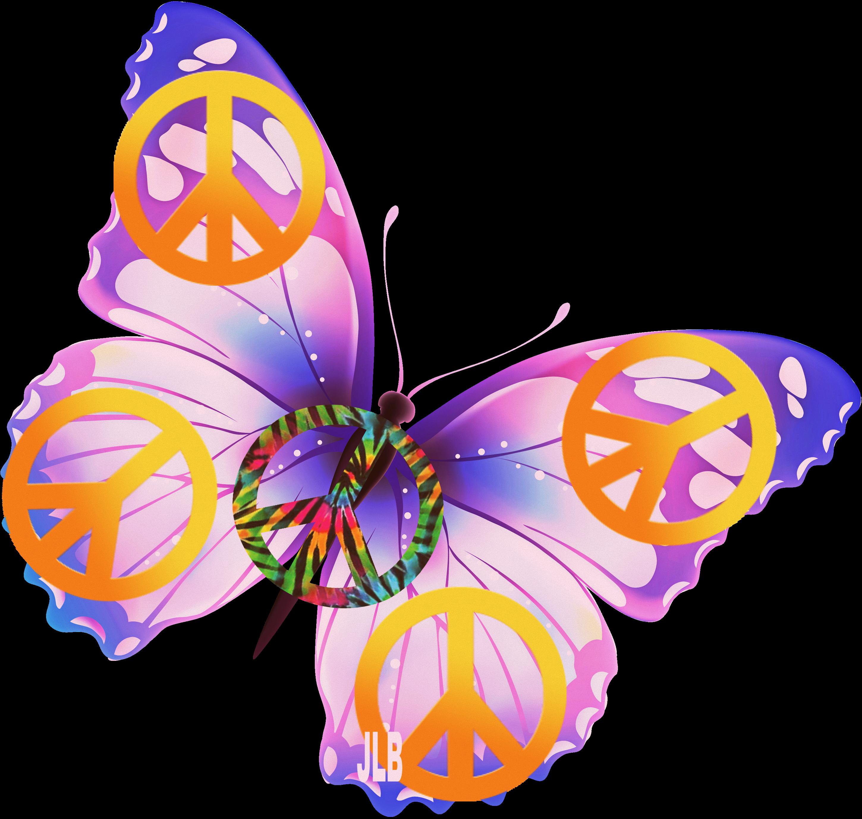 butterfly jlb peace. Hippie clipart 60 fashion