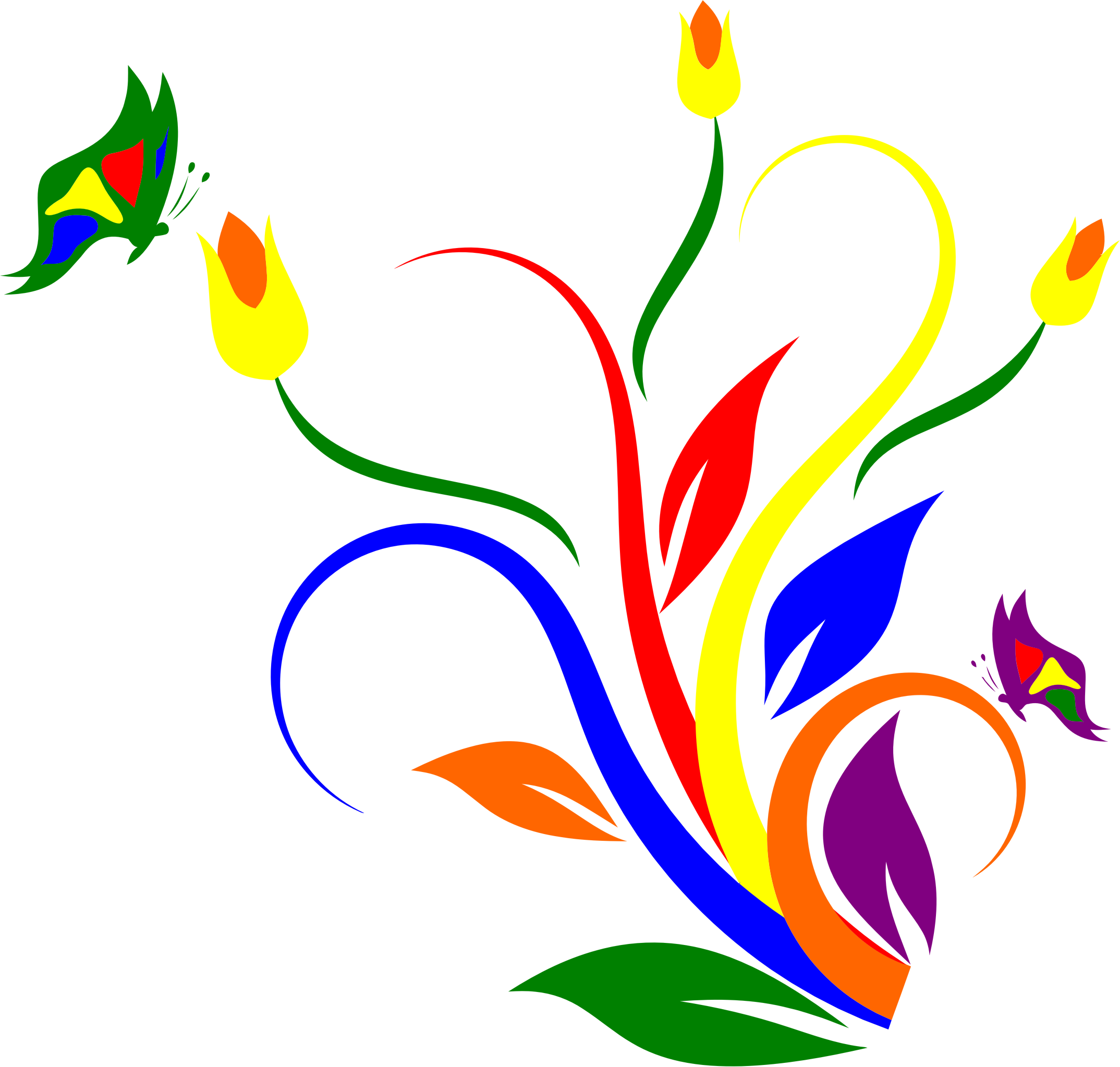 Flower clipart rainbow. Of butterflies and flowers