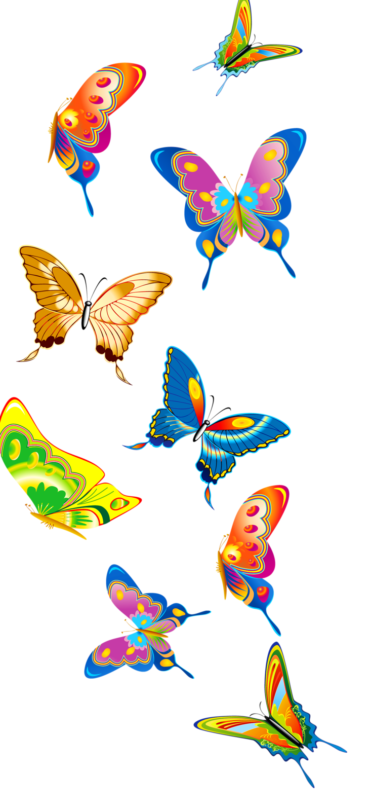Set of butterflies png. Moth clipart garden