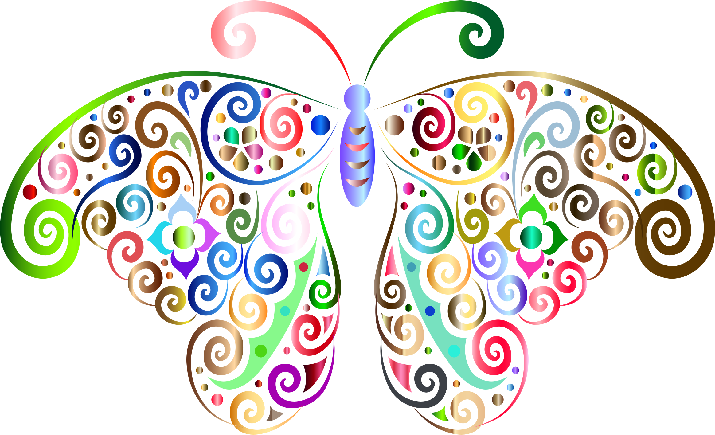 Prismatic floral flourish butterfly. Scroll clipart scrolly
