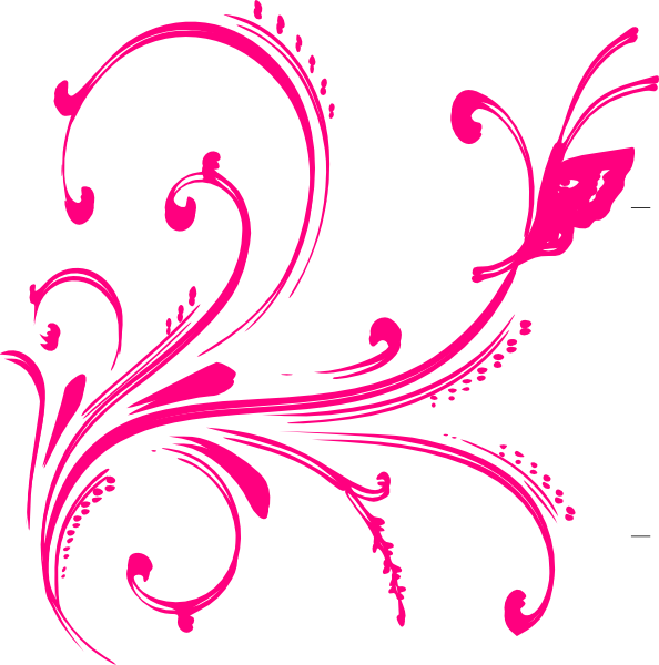 Gold floral with butterfly. Clipart design pink