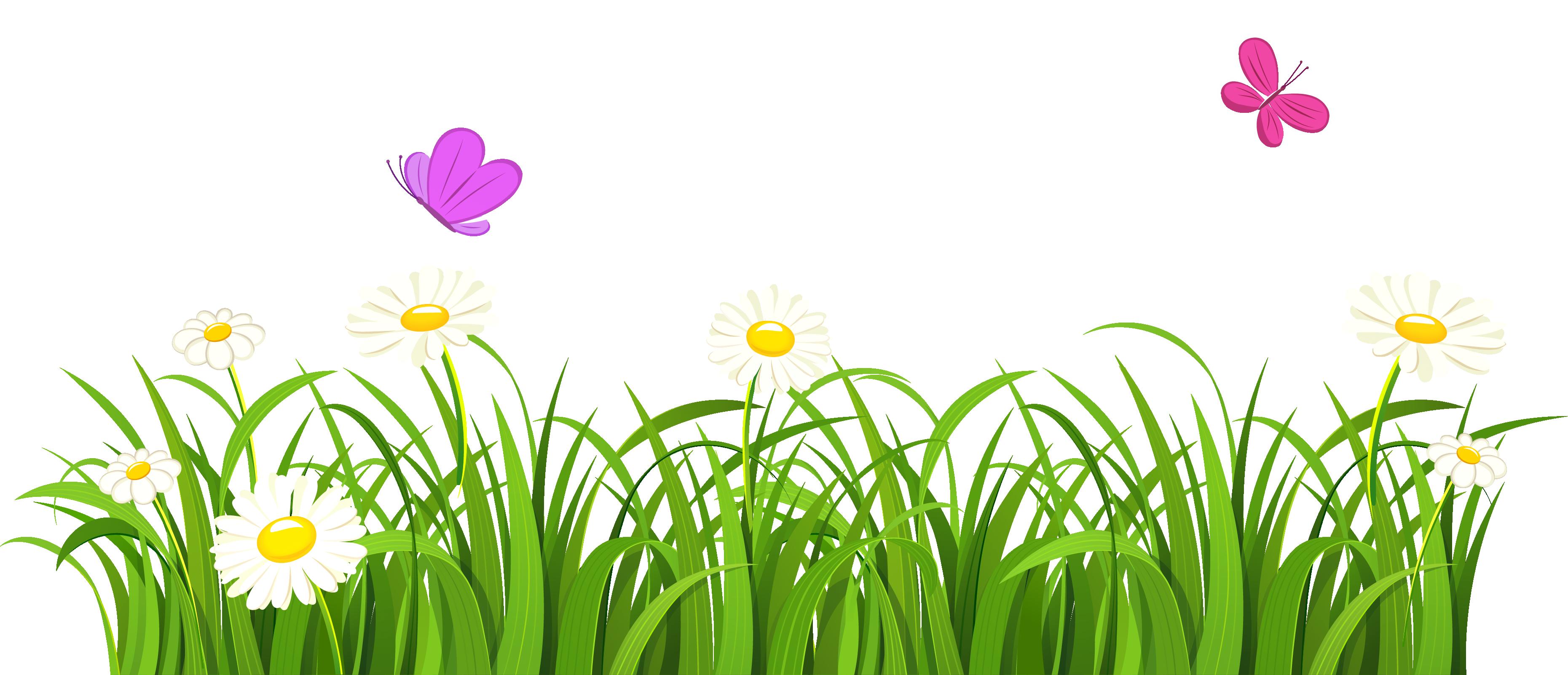 Clipart butterfly flower. Lawn clip art grass