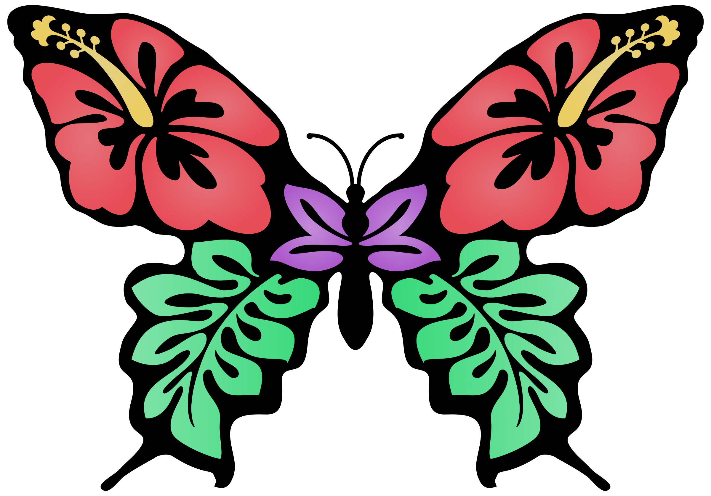 Flower clipart butterfly. Colour big image png