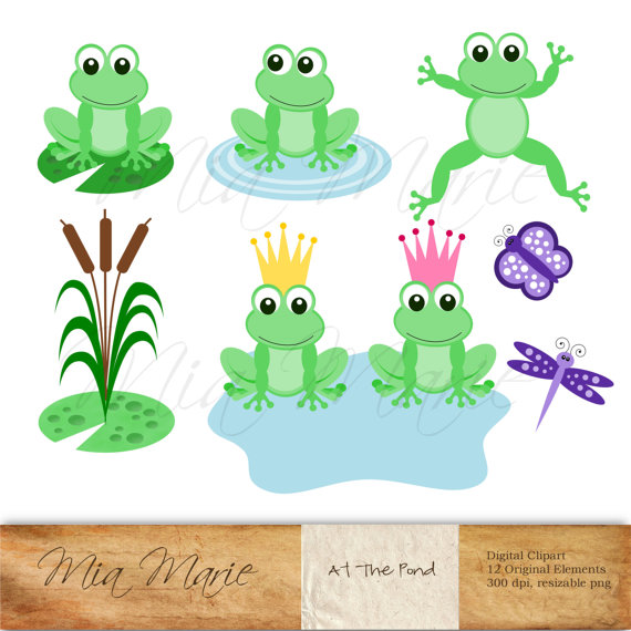 Instant download digital clip. Frog clipart butterfly