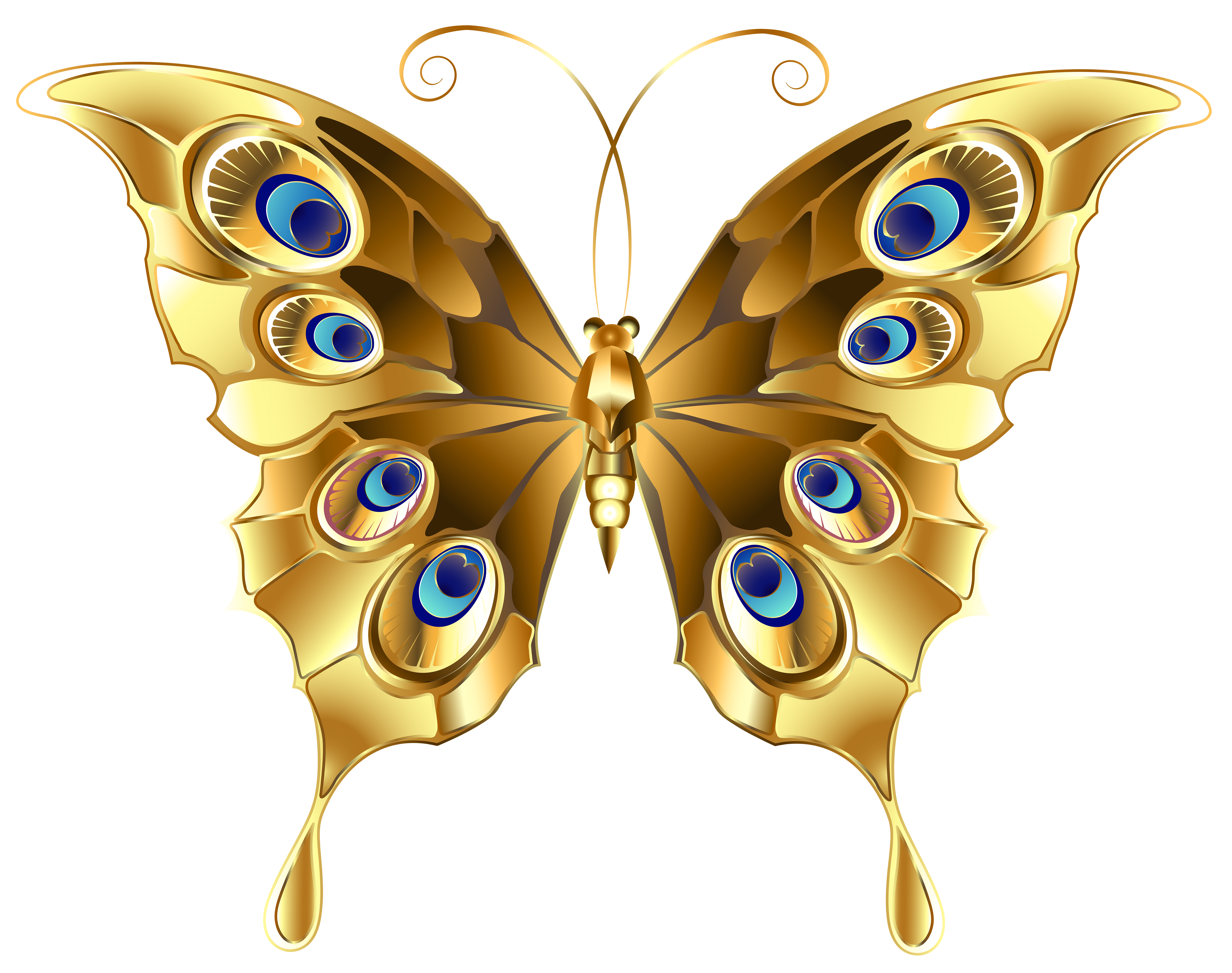 Gold clip art image. Butterfly png images