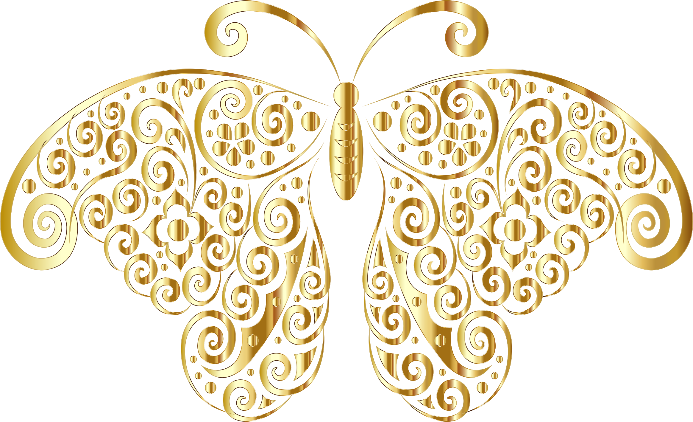 Flourishes clipart gold. Floral flourish butterfly silhouette