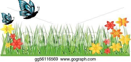 Vector art flower drawing. Clipart grass butterfly
