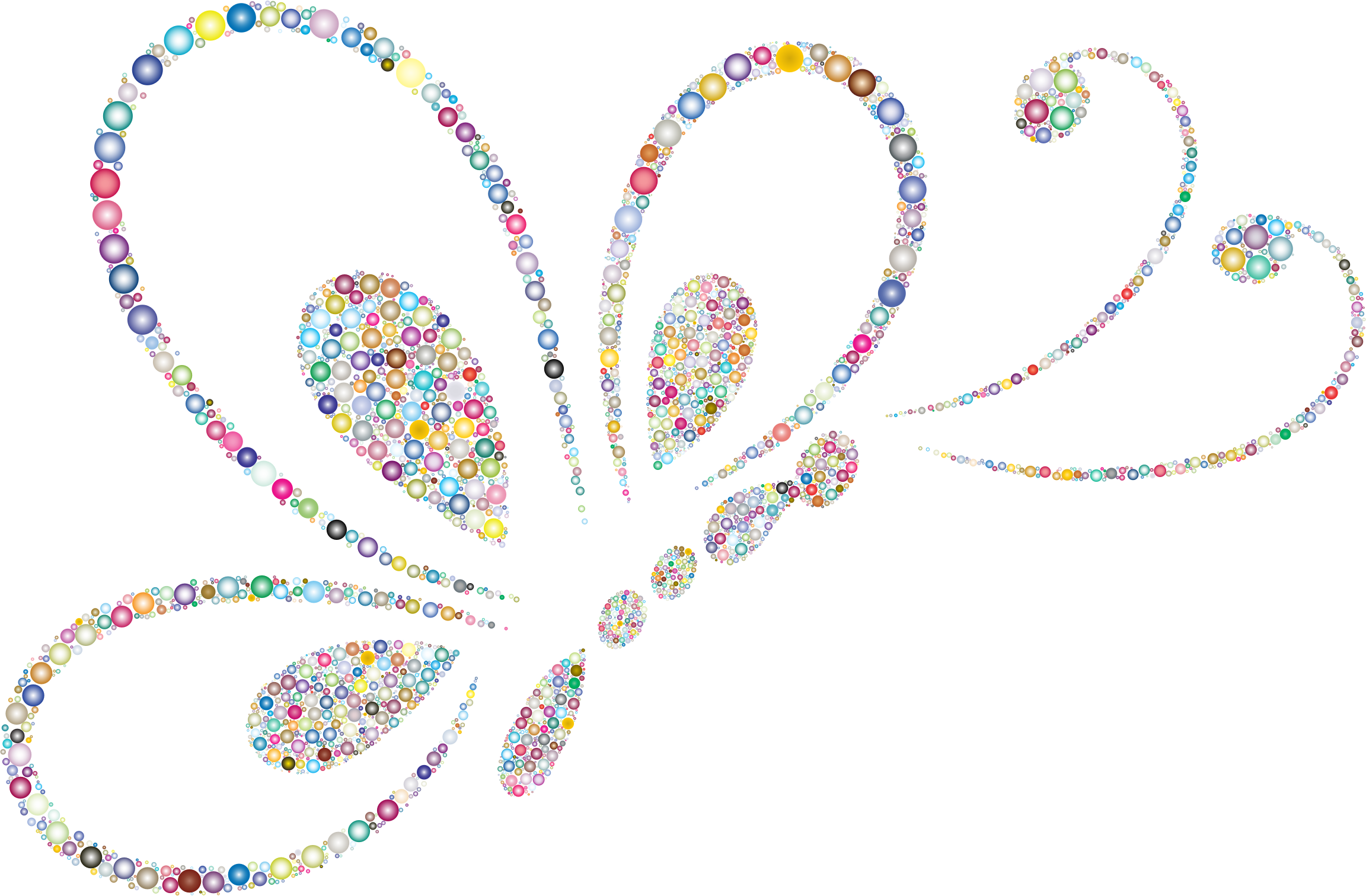 Prismatic circles line art. Heart clipart butterfly