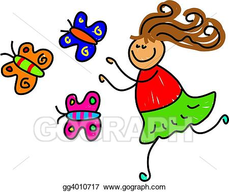 Clipart butterfly kid. Stock illustrations gg