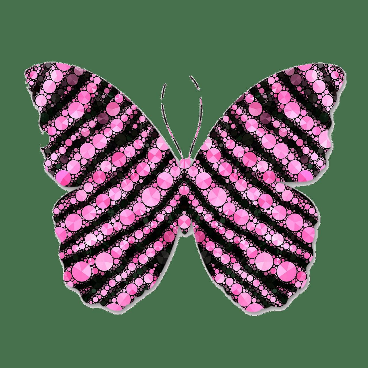 Moth clipart transparent. Pink and black circles