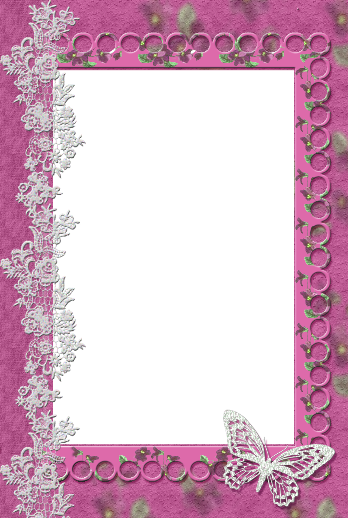 Pink transparent frame with. Lace clipart butterfly