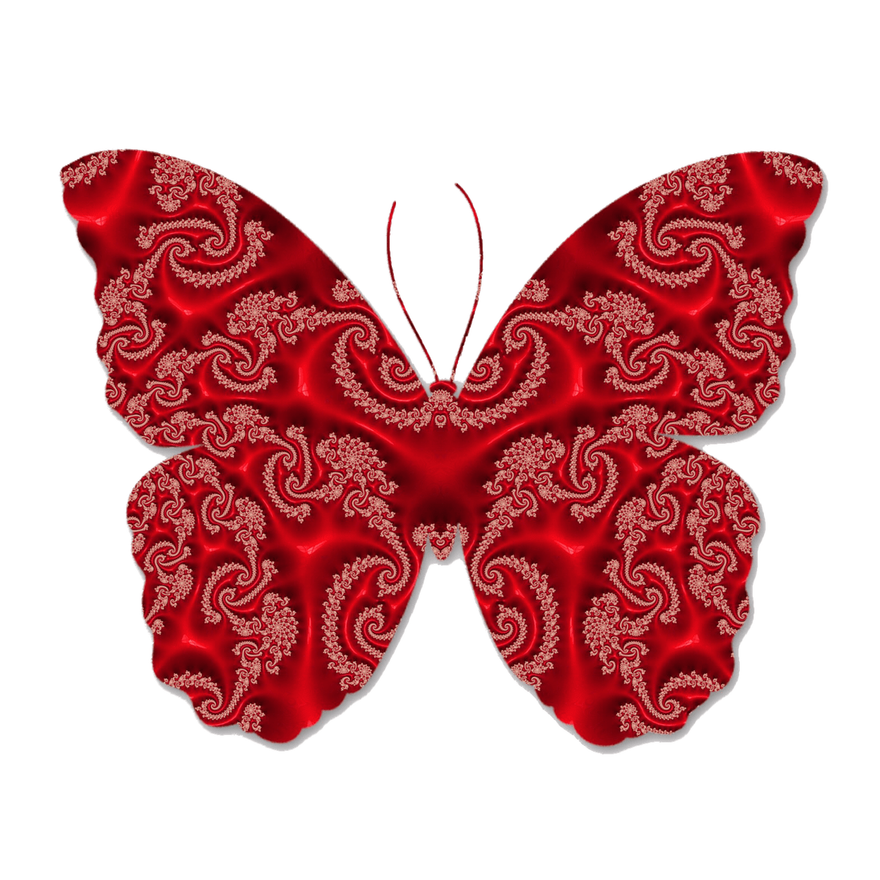Red lace transparent png. Paisley clipart butterfly