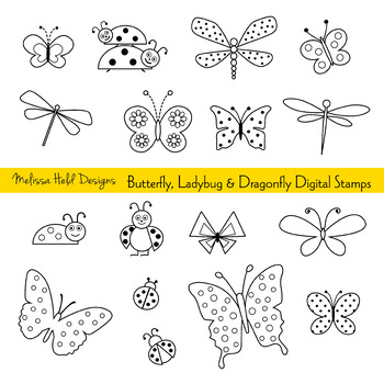 Ladybugs clipart butterfly. Ladybug and dragonfly digital