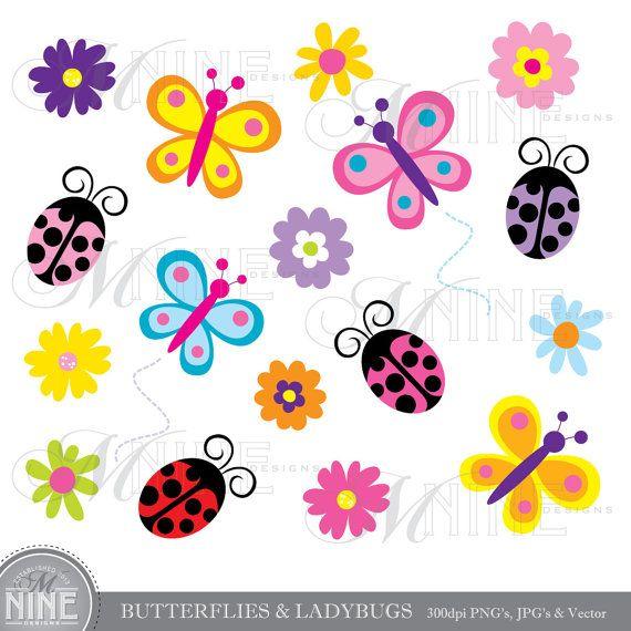Ladybugs clipart butterfly. Butterflies spring clip art