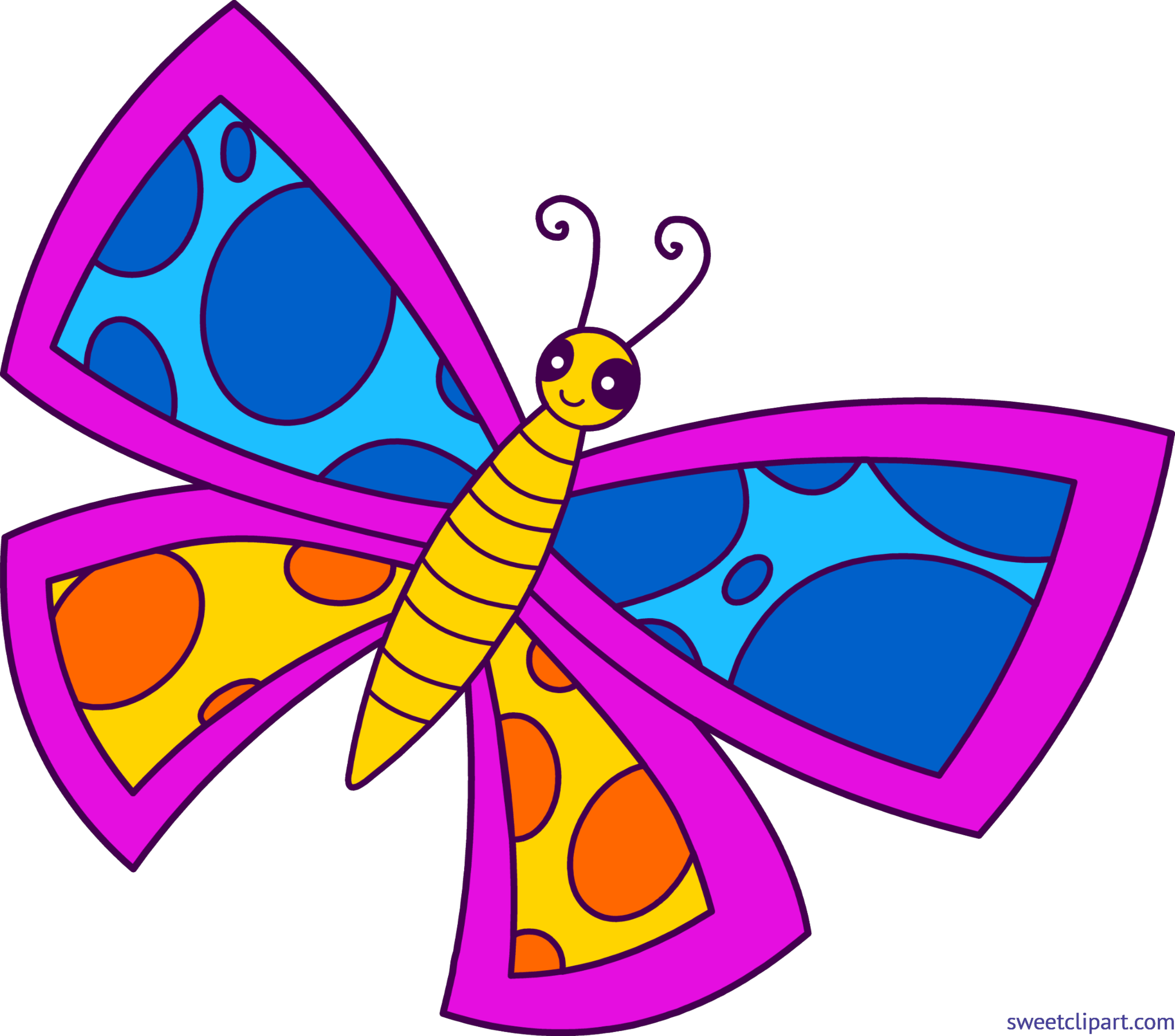 Butterfly spotted neon clip. Moth clipart buttefly