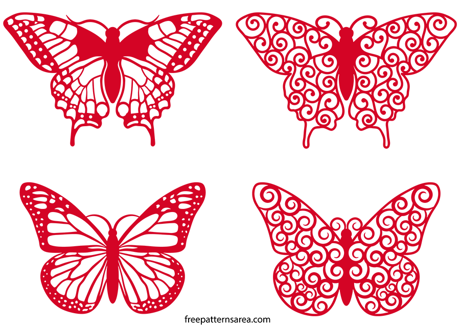 Vector art files cutting. Clipart butterfly monogram