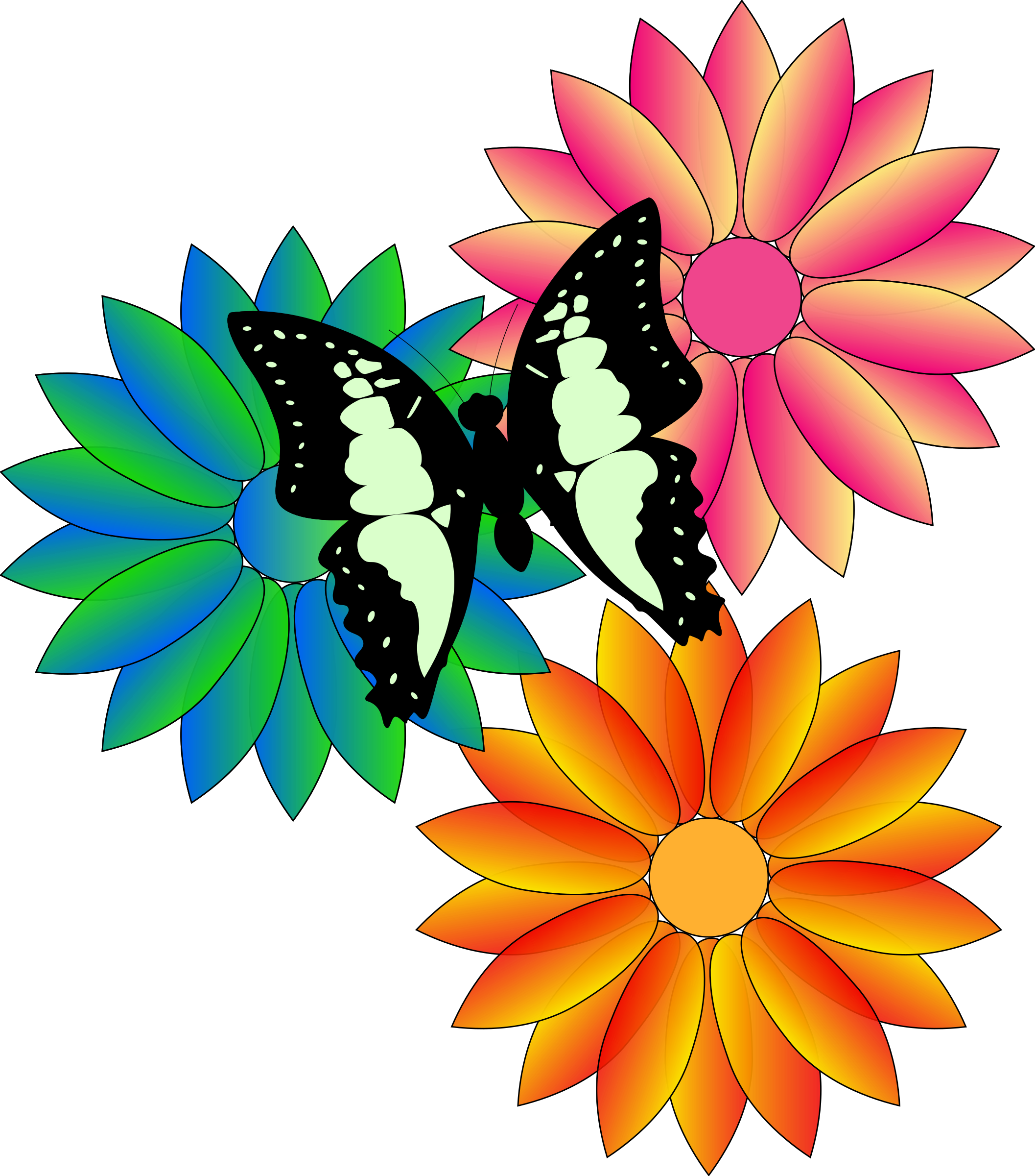 Butterfly and flowers big. Nature clipart flower