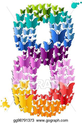 Eps illustration of vector. Clipart butterfly number
