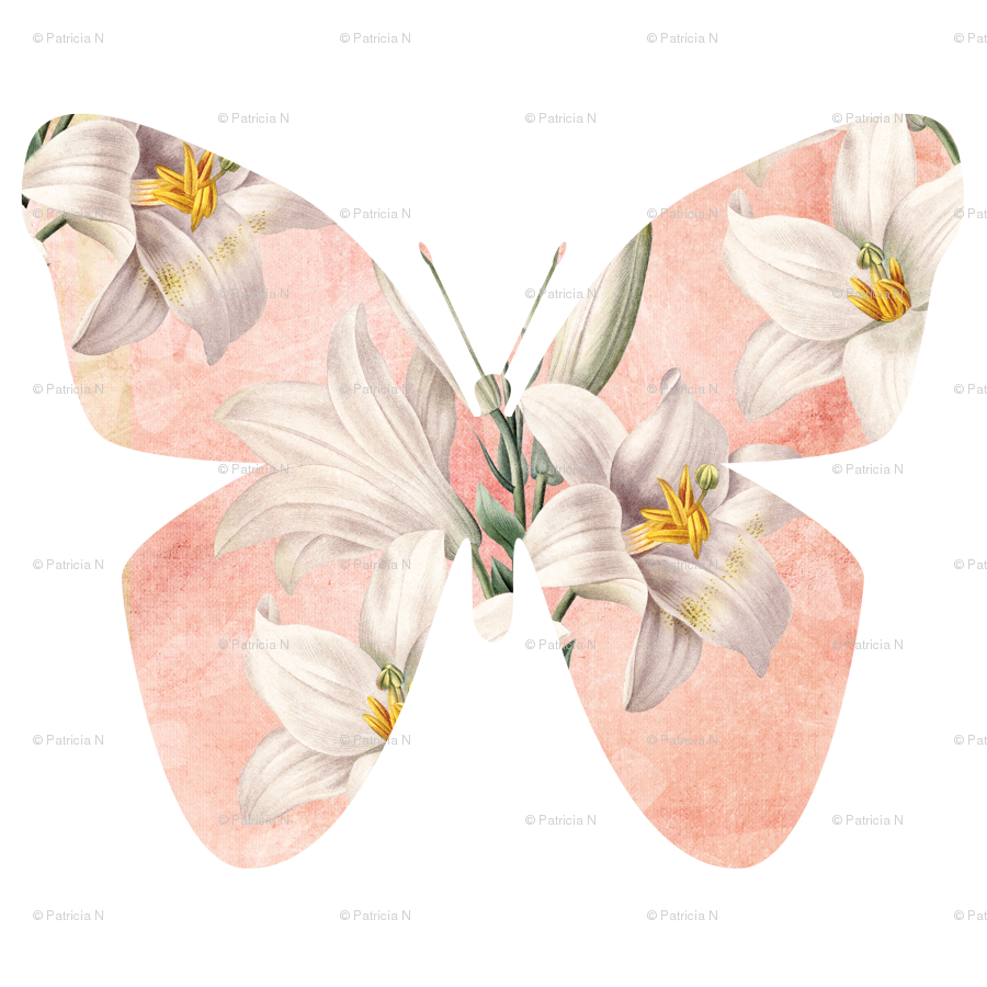 With lilies fabric peacefuldreams. Clipart butterfly peach