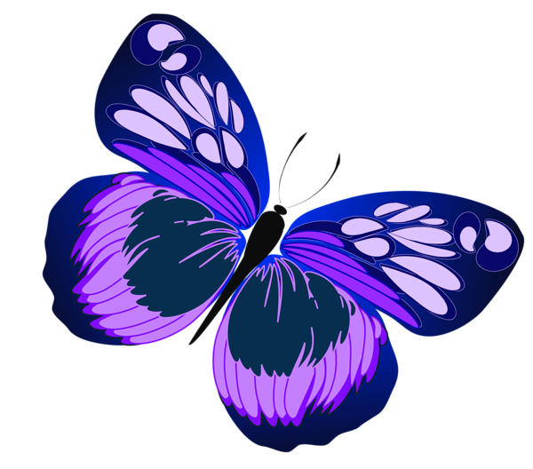 Clipart flower insect. Blue and purple butterfly