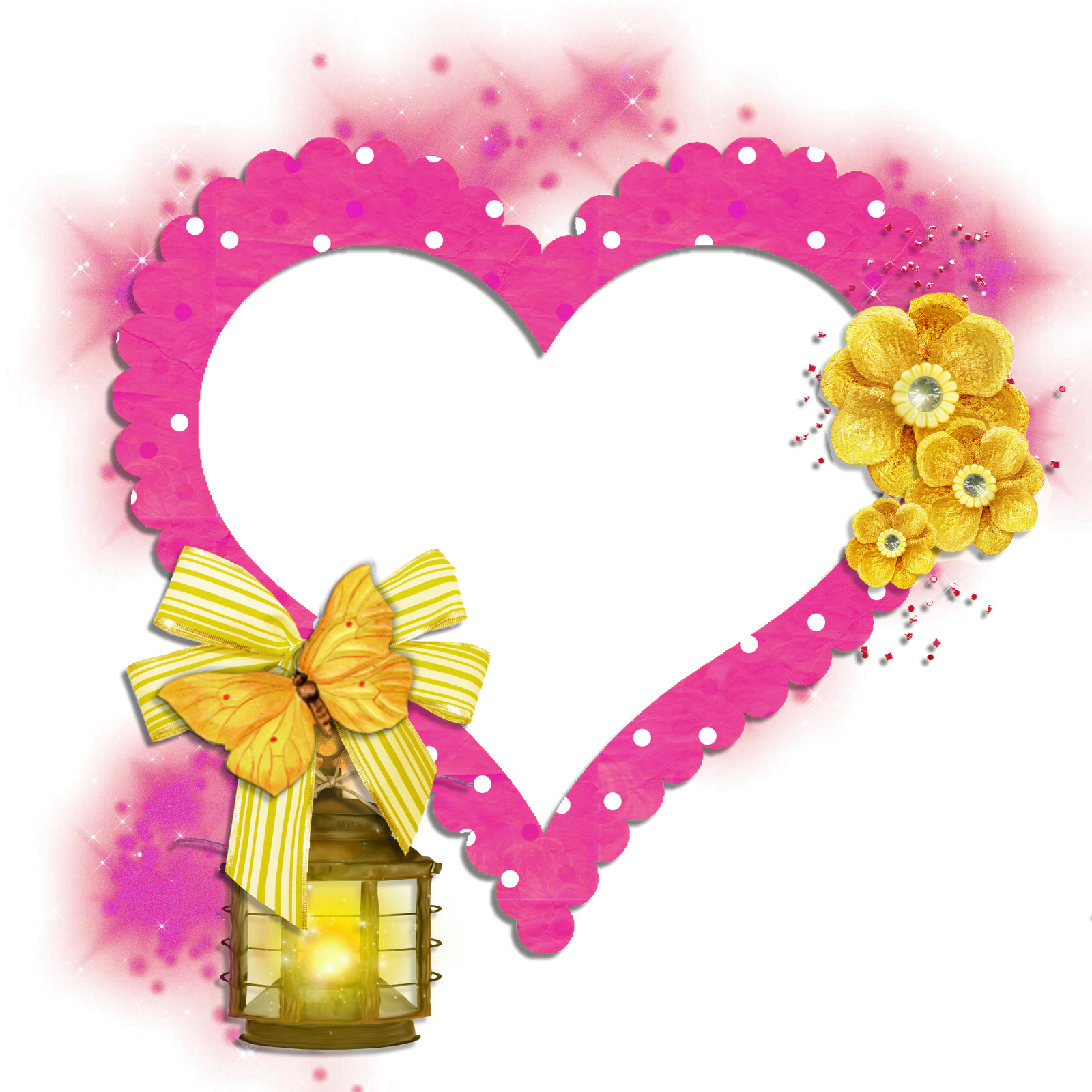 Hearts clipart butterfly. Transparent frame pink heart