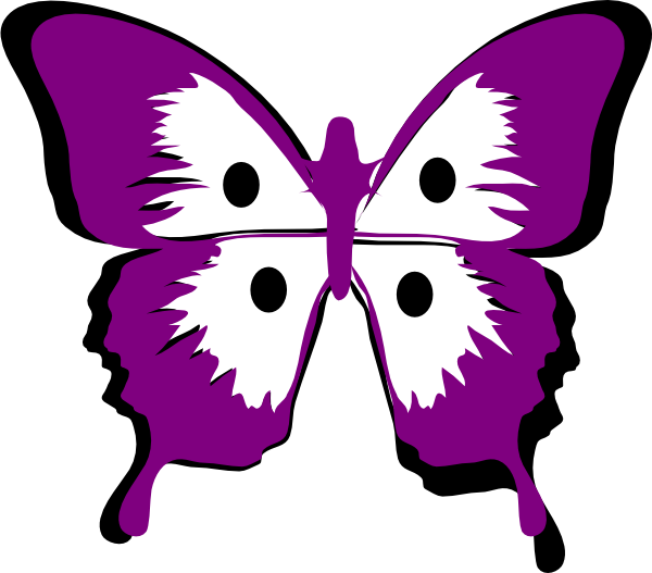 Blk butterfly with dots. Purple clipart insect