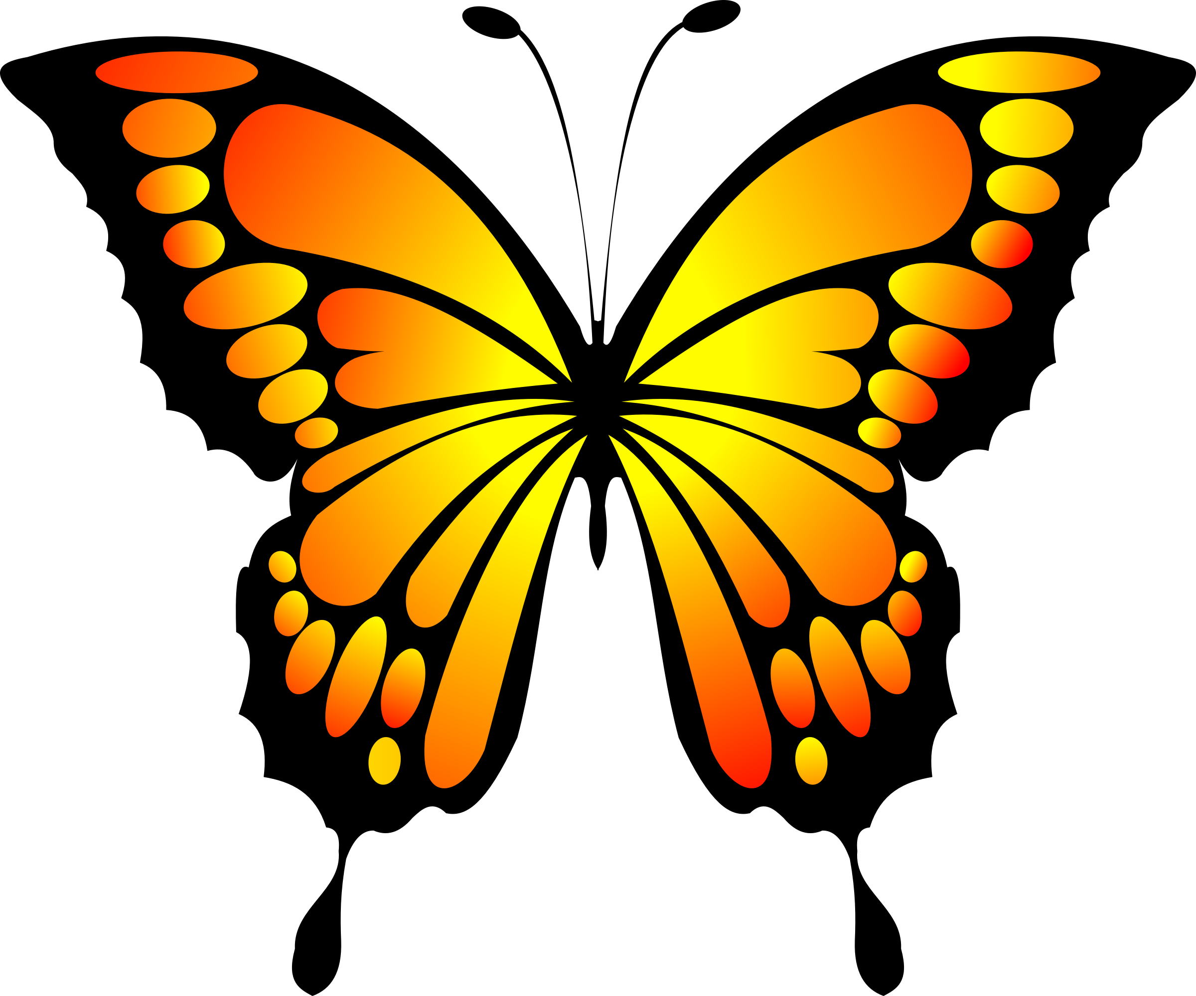 Yellow big image png. Clipart butterfly red