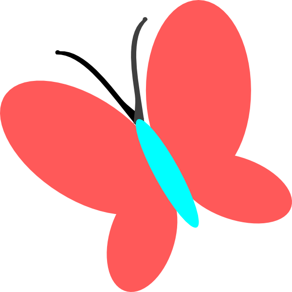 Blue clip art at. Clipart butterfly red