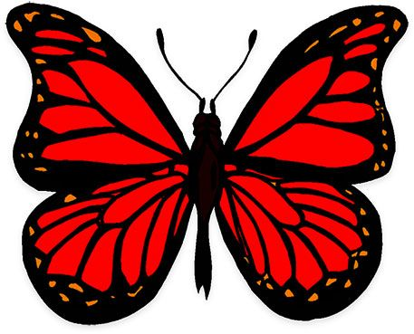 Animated kid printables . Clipart butterfly red