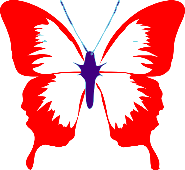 clipart butterfly red