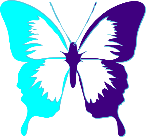 Clipart butterfly ribbon. Purple and teal clip