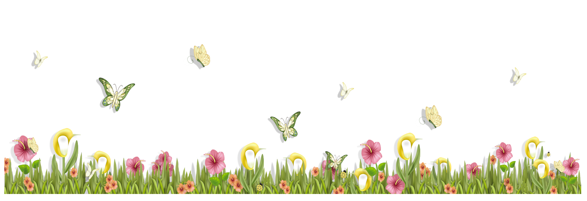 Grass clipart spring. With butterflies and flowers