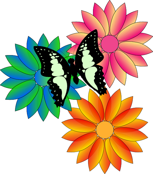 Floral clipart summer. Butterfly and flowers clip