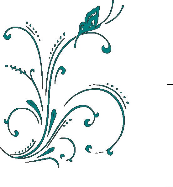 Teal scroll clip art. Clipart butterfly swirl
