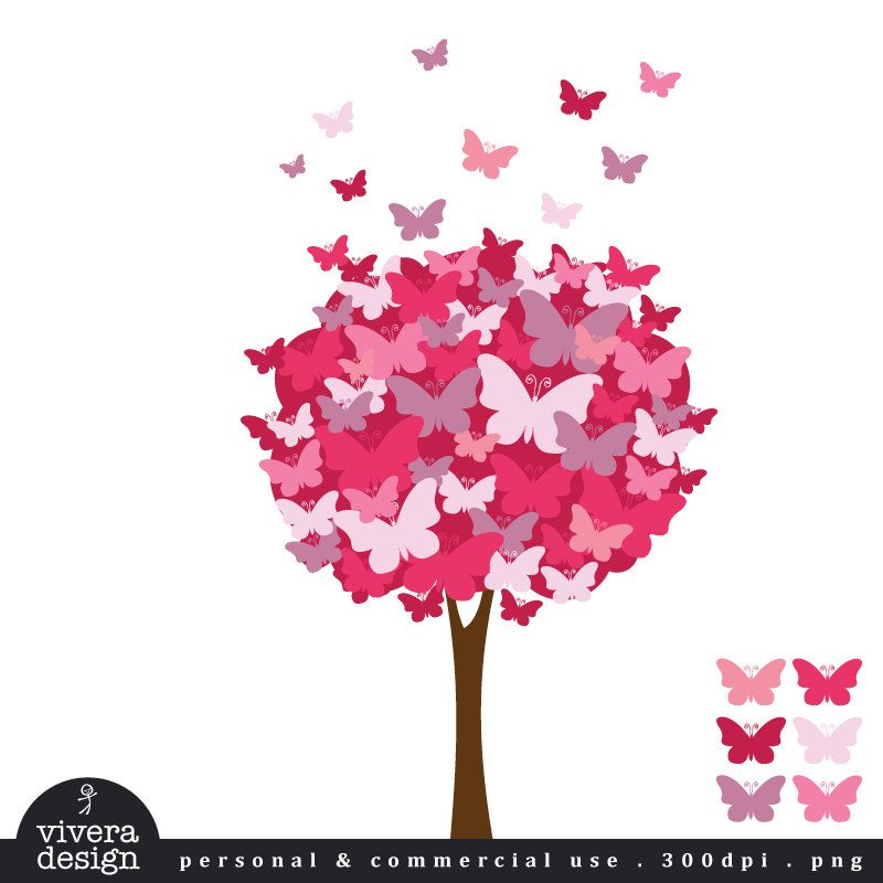 Digital clip art the. Clipart butterfly tree