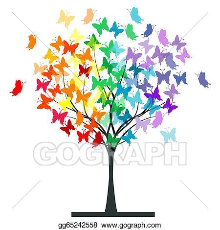 Clipart butterfly tree. Vector butterflies rainbow