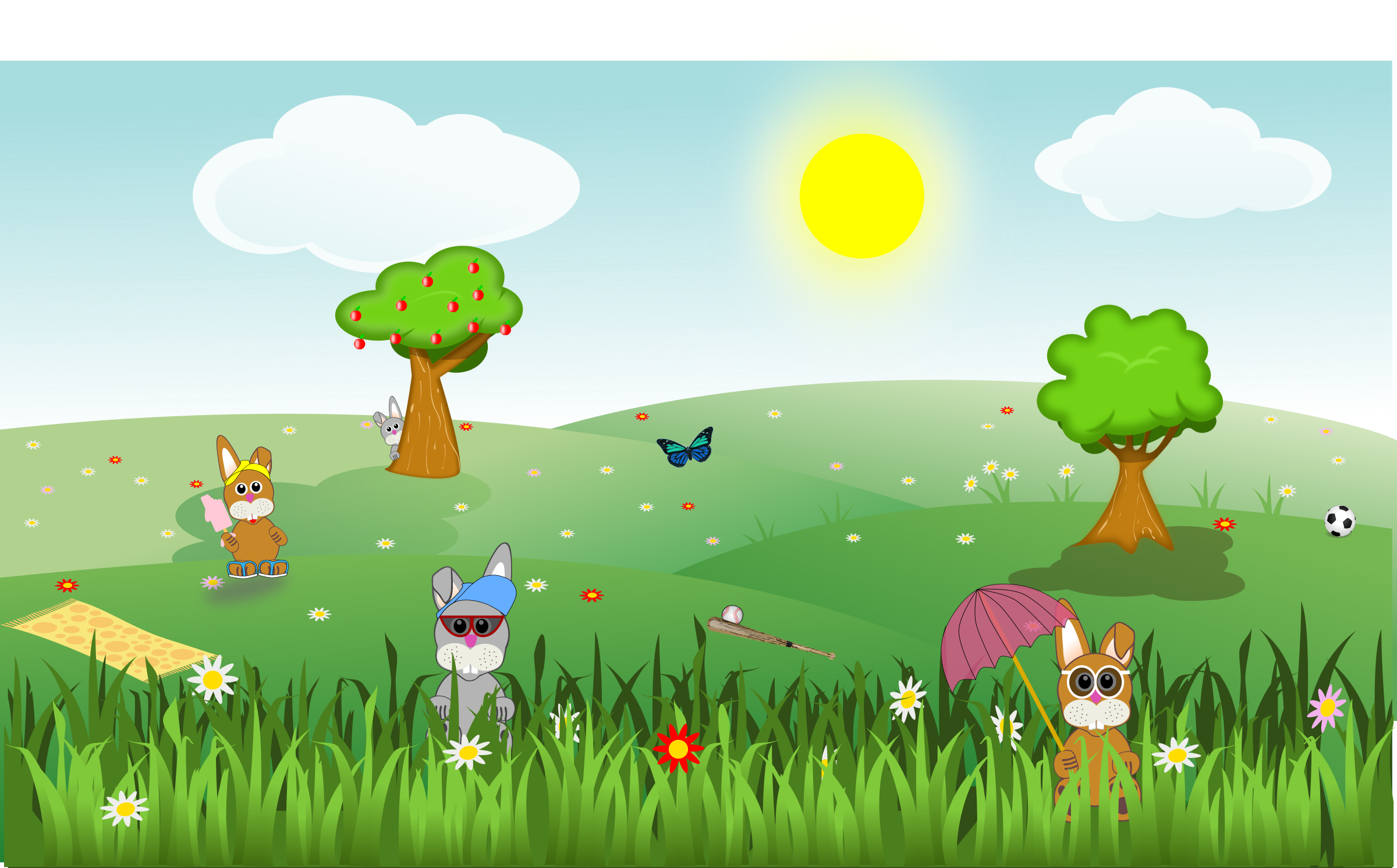 Tree clipart landscape. Summer green and sunny