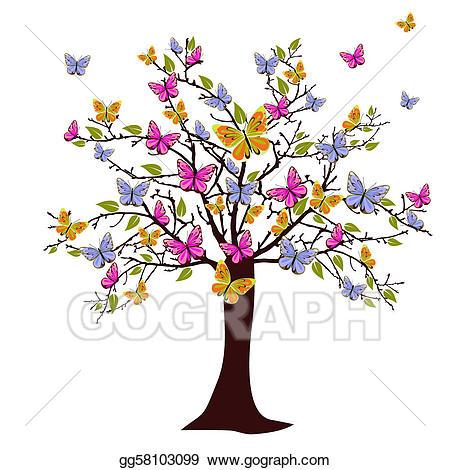 Clipart butterfly tree. Vector illustration