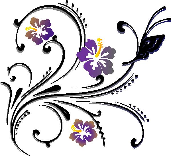 Scroll clipart vector. Flowers and butterflies border
