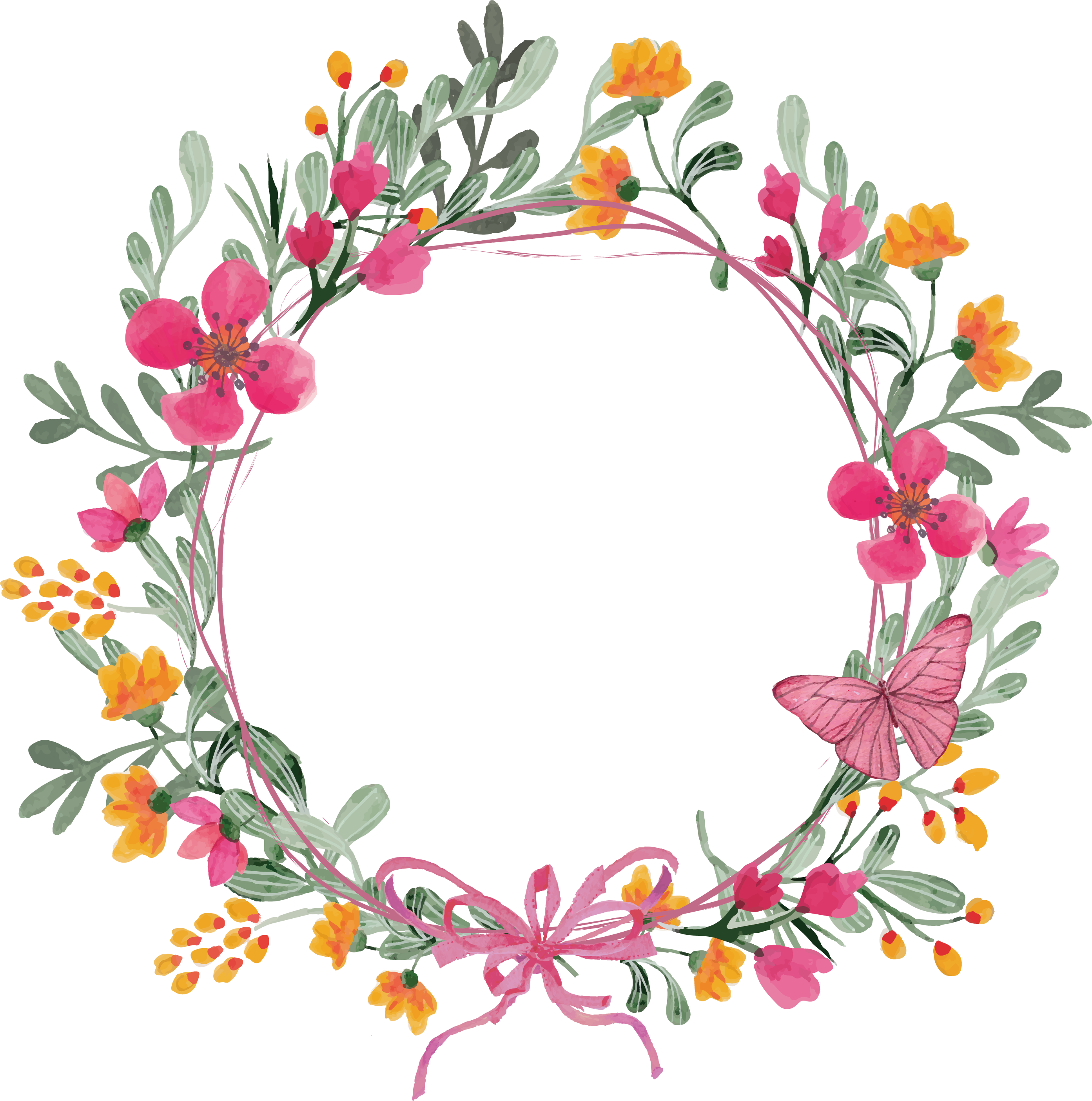 Flower garland png. Pink butterfly wreath transprent
