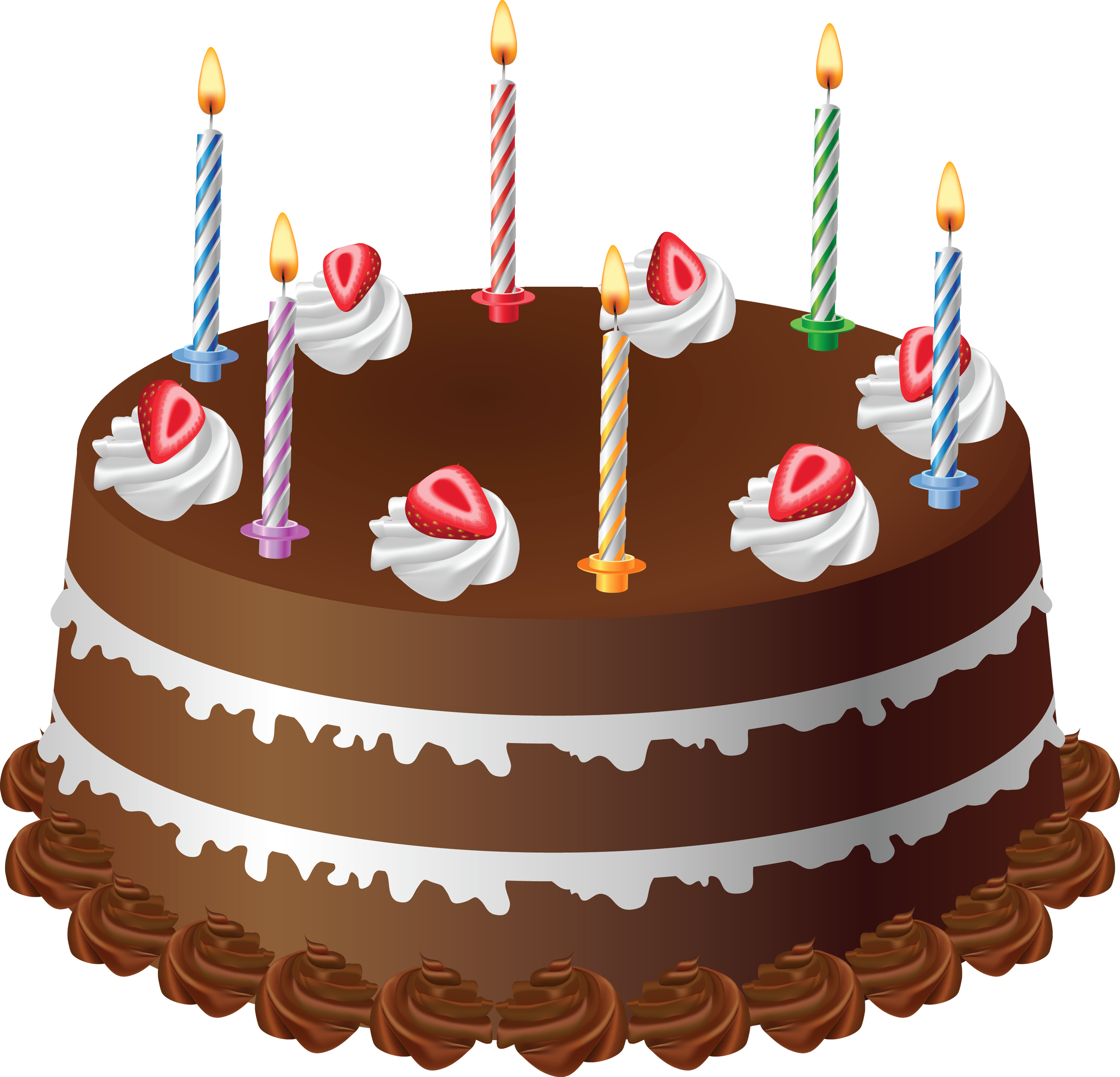 Chocolate with candles art. Clipart cake autumn